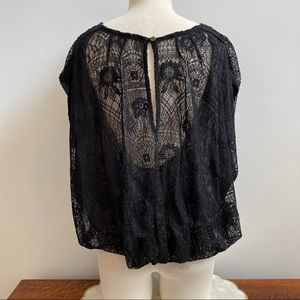Free People Black Lace Cap Sleeve Rouched Top S